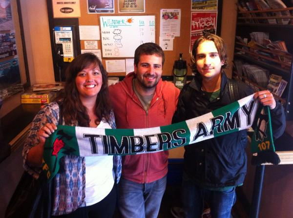 Hostelling with travelling Timbers fans Alex and Lindsay